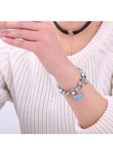 Angemiel Mavi Deri Su Sineği Nota Kalp Charmlı Bileklik Renkli